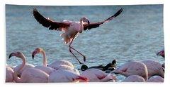 Pink Flamingo Coming Into Land Bath Towel
