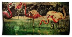 Bath Towel featuring the digital art Pink Flamingos - Shangri-la by Absinthe Art By Michelle LeAnn Scott