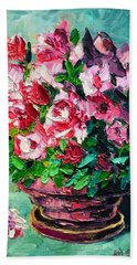 Hand Towel featuring the painting Pink Flowers by Ana Maria Edulescu
