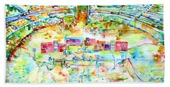 Pink Floyd Live At Pompeii Watercolor Painting Bath Towel