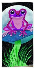 Pink Frog And Blue Moon Hand Towel
