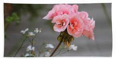 Pink Geranium Bath Towel by Leone Lund