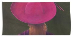 Pink Hat, 2014 Oil On Canvas Hand Towel