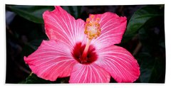 Bath Towel featuring the photograph Pink Hibiscus Flower by Kristen Fox