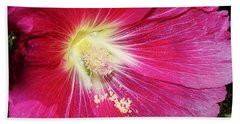 Pink Hollyhock Bath Towel by Phyllis Denton