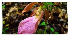 Pink Ladyslipper Orchid Hand Towel