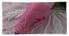 Bath Towel featuring the photograph Pink Lavatera Bud Macro by Sandra Foster