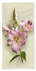 Pink Lilies On Cream Bath Towel