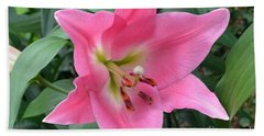 Bath Towel featuring the photograph Pink Lily by Jeannie Rhode