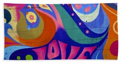 Bath Towel featuring the painting Pink Love Graffiti Nyc 2014 by Joan Reese