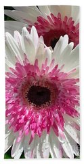 Bath Towel featuring the photograph Pink N White Gerber Daisy by Sami Martin