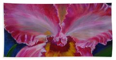 Hand Towel featuring the painting Pink Orchid by Jenny Lee