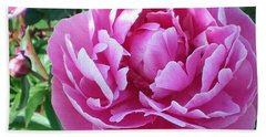 Hand Towel featuring the photograph Pink Peony by Barbara Griffin