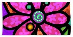 Pink Pinwheel Daisy Bath Towel