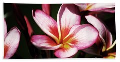 Hand Towel featuring the photograph Pink Plumeria by Angela DeFrias