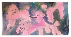 Pink Poodle Polka Hand Towel by Judith Desrosiers
