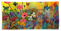Hand Towel featuring the painting Pink Poppies In Paradise by Robin Maria Pedrero