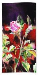 Pink Rose Bloom Bath Towel