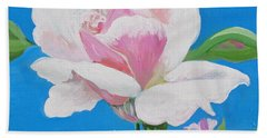 Bath Towel featuring the painting Pink Rose In Paint by Phyllis Kaltenbach