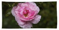Pink Rose With Raindrops Bath Towel