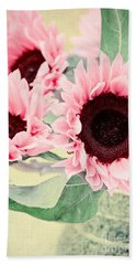Pink Sunflowers Hand Towel