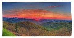 Pink Sunrise At Skyline Drive Hand Towel