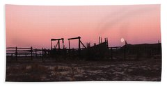Pink Sunset Over Corral Bath Towel by Cathy Anderson