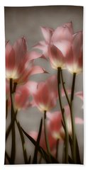 Pink Tulips Glow Bath Towel