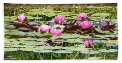 Pink Water Lilies Hand Towel