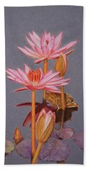 Pink Water Lilies Bath Towel by Marna Edwards Flavell