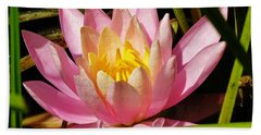 Pink Water Lily Bath Towel by Sherman Perry