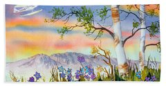 Bath Towel featuring the painting Piper Cub Over Sleeping Lady by Teresa Ascone