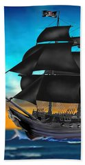 Pirate Ship At Sunset Bath Towel by Glenn Holbrook
