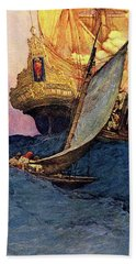 Pirate Ship Attacking Spanish Galleon Hand Towel