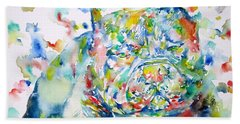 Pit Bull - Watercolor Portrait Hand Towel