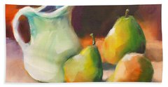 Hand Towel featuring the painting Pitcher And Pears by Michelle Abrams