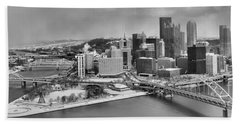 Pittsburgh Black And White Winter Panorama Hand Towel by Adam Jewell