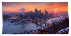 Pittsburgh Skyline Winter 2 Bath Towel