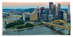 Pittsburgh Panorama At Dusk Hand Towel by Adam Jewell