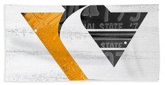 Pittsburgh Penguins Hockey Team Retro Logo Vintage Recycled Pennsylvania License Plate Art Hand Towel