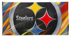 Pittsburgh Steelers Football Bath Towel by Tony Rubino