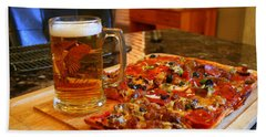 Pizza And Beer Bath Towel by Kay Novy