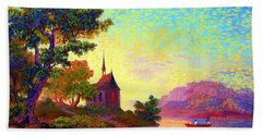 Hand Towel featuring the painting Beautiful Church, Place Of Welcome by Jane Small