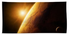 Planet Mars Close-up With Sunrise Hand Towel