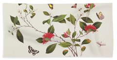 Plant Study With Butterflies Bath Towel