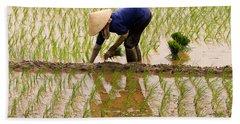 Planting Rice Bath Towel