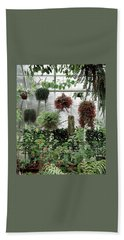 Plants Hanging In A Greenhouse Bath Towel