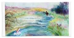 Bath Towel featuring the painting Playin' Hooky by C Sitton