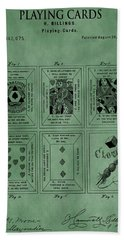 Playing Cards Patent Green Hand Towel