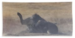 American Bison Playing In The Dirt At Custer State Park South Dakota Hand Towel